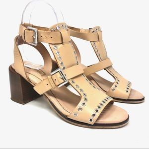 TOPSHOP Tan Leather Studded Block Heel Sandals 38